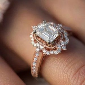 Rose gold Radiant halo Engagement ring